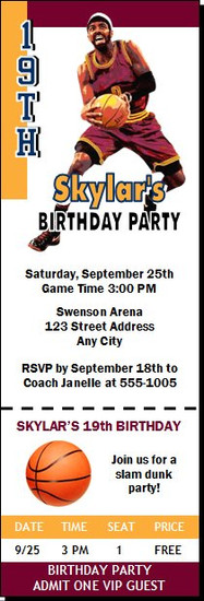 Cleveland Cavaliers Colored Basketball Party Ticket Invitation