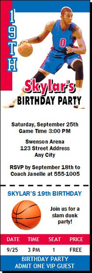 Detroit Pistons Colored Basketball Party Ticket Invitation