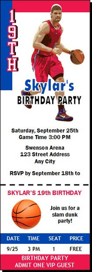 Los Angeles Clippers Colored Basketball Party Ticket Invitation