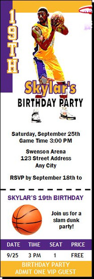 Los Angeles Lakers Colored Basketball Party Ticket Invitation