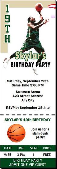 Milwaukee Bucks Colored Basketball Party Ticket Invitation