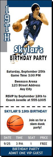 Minnesota Timberwolves Colored Basketball Party Ticket Invitation