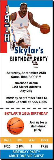Oklahoma City Thunder Colored Basketball Party Ticket Invitation