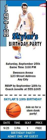 Orlando Magic Colored Basketball Party Ticket Invitation