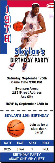 Philadelphia 76ers Colored Basketball Party Ticket Invitation