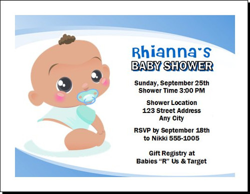 African Baby Boy Blue Baby Shower Invitation