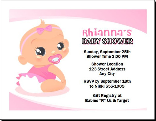 Baby Girl Pink Baby Shower Invitation