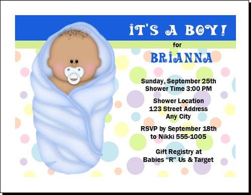 Blue Blanket African Baby Shower Invitation
