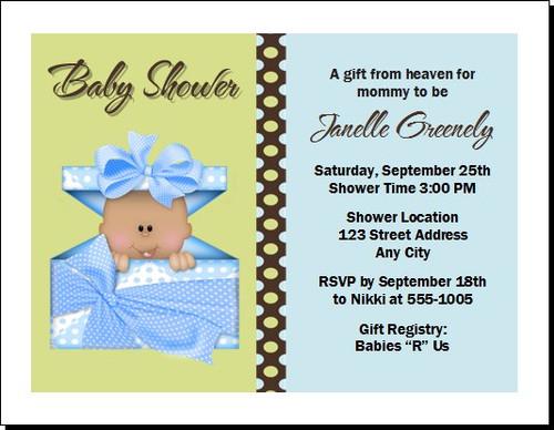 Blue Gift from Heaven Baby Shower Invitation, Multiples Option, Light or Dark Skin