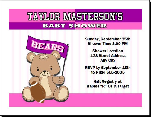 Football Teddy Bear Pink Baby Shower Party Invitation