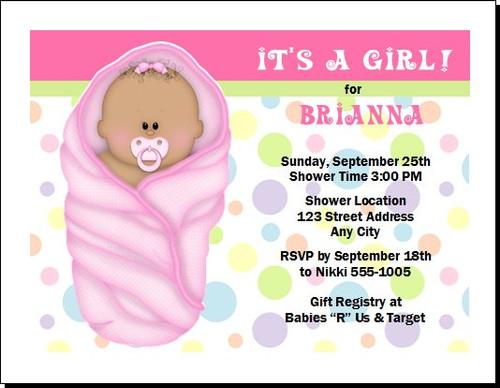 Pink Blanket African Baby Shower Invitation