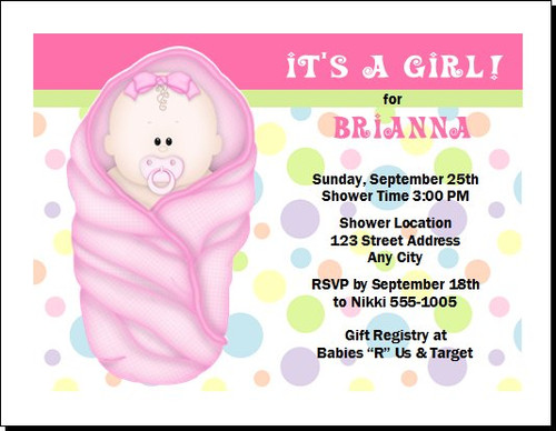 Pink Blanket Baby Shower Invitation