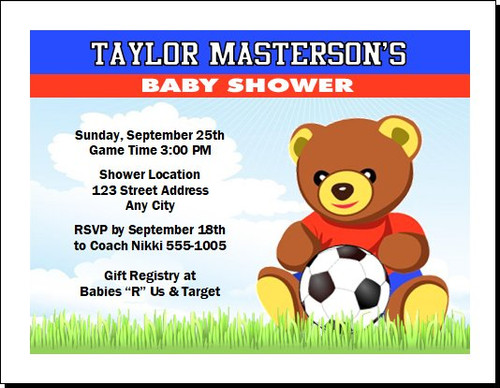 Soccer Bear Baby Shower, Co-Ed, Diaper Party Invitation