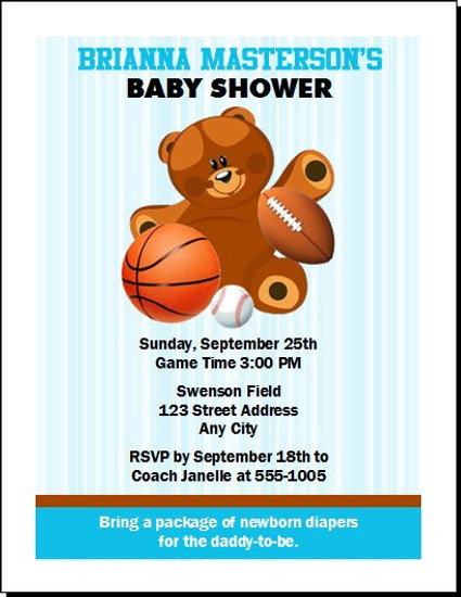 Sports Teddy Bear Baby Shower, Co-Ed, Diaper Party Invitation