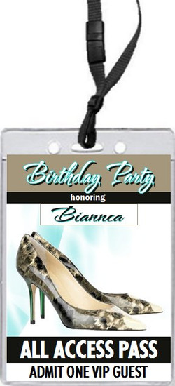 A Choo Stiletto Birthday Party VIP Pass Invitation Front