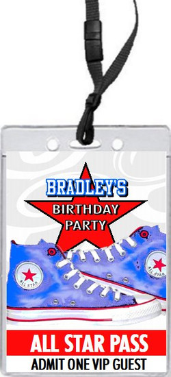 All Star Shoes Birthday Party VIP Pass Invitation Blue