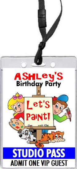 Art Birthday Party VIP Pass Invitation