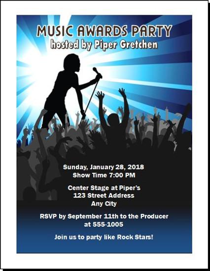 Music Awards Party Blue Invitation