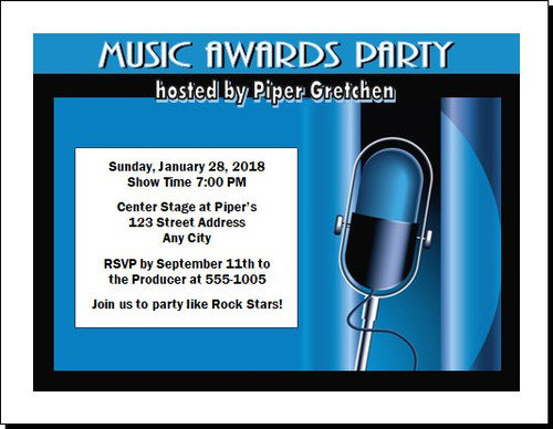 Music Awards Party Microphone Invitation