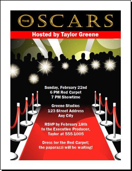 oscar red carpet paparazzi party invitation