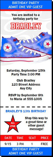 All Star Shoes Birthday Party Ticket Invitation Blue