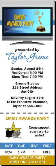 Emmy Awards Party Ticket Invitation