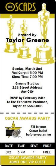 Oscar Awards Party Ticket Invitation