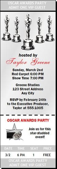 Oscar Awards Party Silver Ticket Invitation