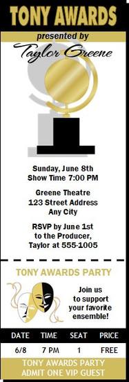 Tony Awards Party Ticket Invitation