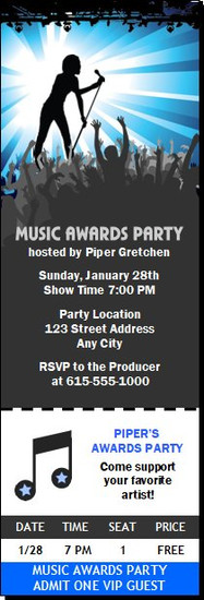 Music Awards Party Blue Ticket Invitation