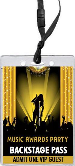 Music Awards Party Gold VIP Pass Invitation