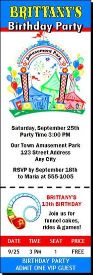 Amusement Park Birthday Party Ticket Invitation
