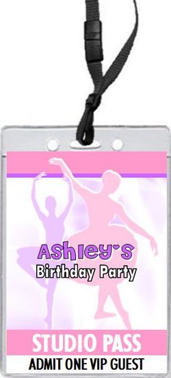Ballerina Dancer Birthday Party VIP Pass Invitation