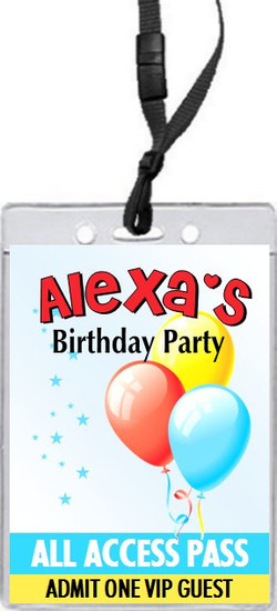 Balloons and Stars Birthday Party VIP Pass Invitation