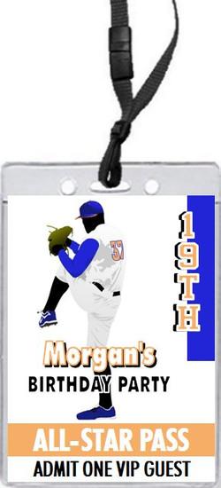 Baseball Pitcher Birthday Party VIP Pass Invitation Orange Blue