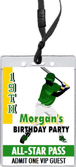 Baseball Slugger 2 Birthday Party VIP Pass Invitation