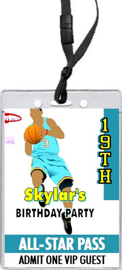 Basketball Aqua Yellow Birthday Party VIP Pass Invitation