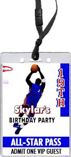 Basketball Blue Red Birthday Party VIP Pass Invitation
