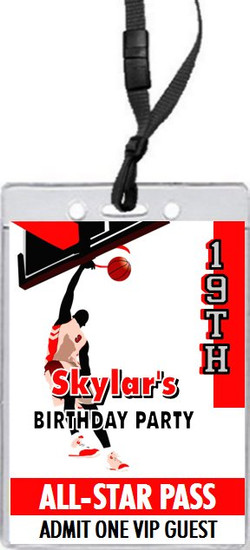 Basketball Dunk Red Birthday Party VIP Pass Invitation