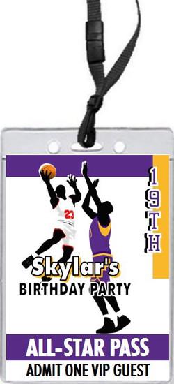 Basketball Game Purple Gold Birthday Party VIP Pass Invitation