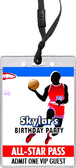 Basketball Red Blue Birthday Party VIP Pass Invitation