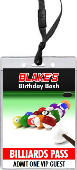 Billiards Birthday Party VIP Pass Invitation