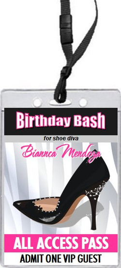 Black Stiletto Birthday Party VIP Pass Invitation