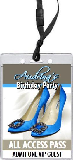 Blue Stiletto Birthday Party VIP Pass Invitation
