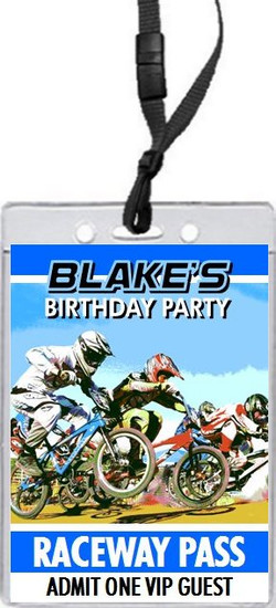 BMX Racing Blue Birthday Party VIP Pass Invitation