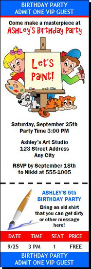Art Birthday Party Ticket Invitation