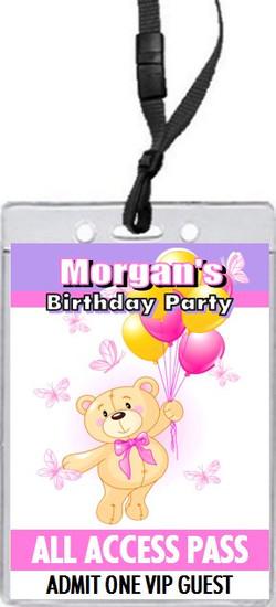 Build a Teddy Bear Birthday Party VIP Pass Invitation Purple