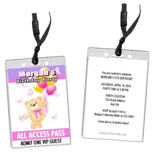 Build A Teddy Bear Birthday Party VIP Pass Invitation Color Choice Set Of 12