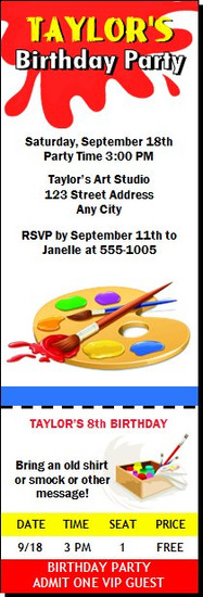 Artist Birthday Party Ticket Invitation