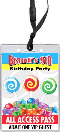 Candyland Birthday Party VIP Pass Invitation